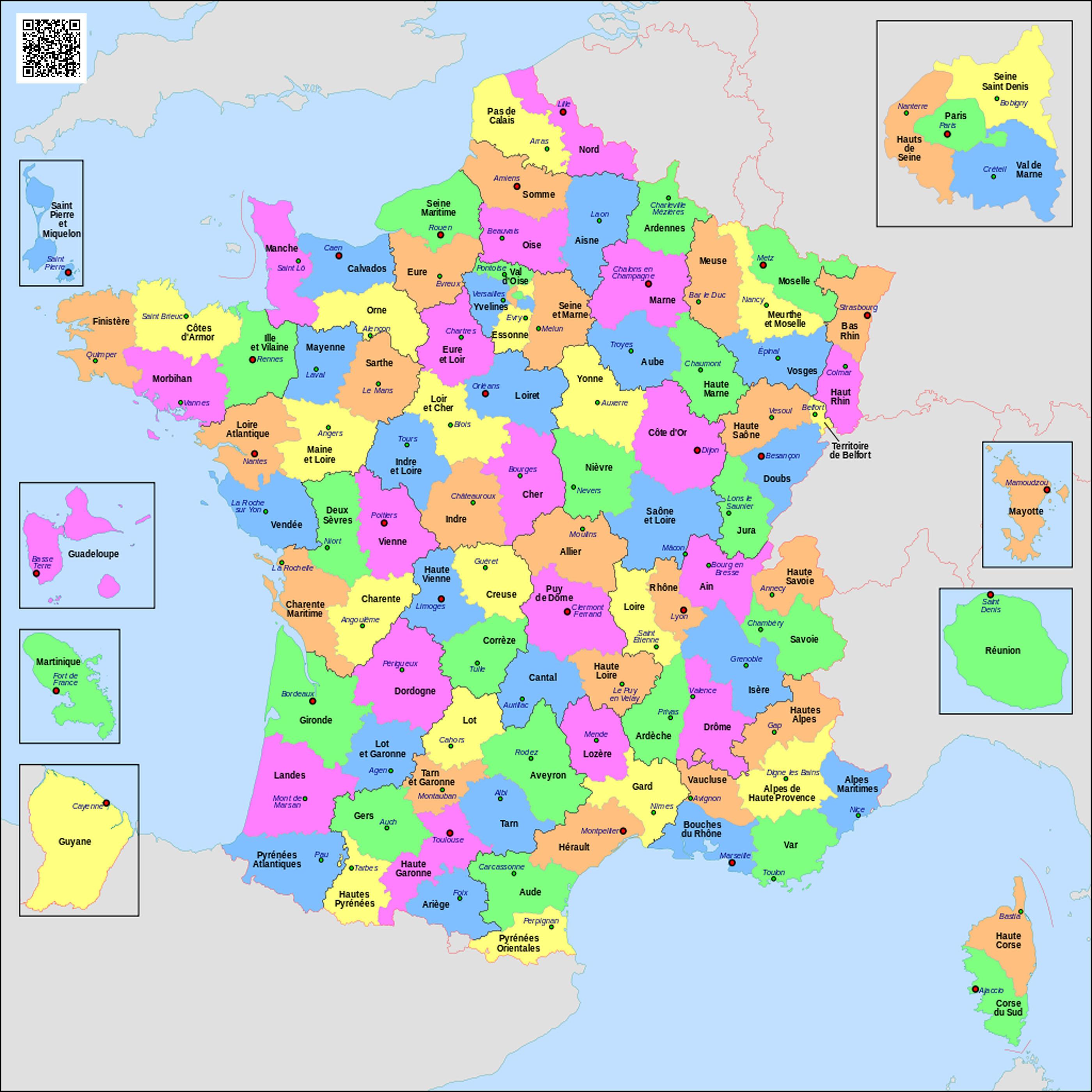 Administrativno Politicheskaya Karta Francii Karta Departamentov