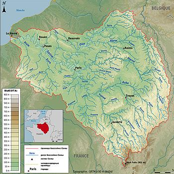 Бассейн Сены на карте